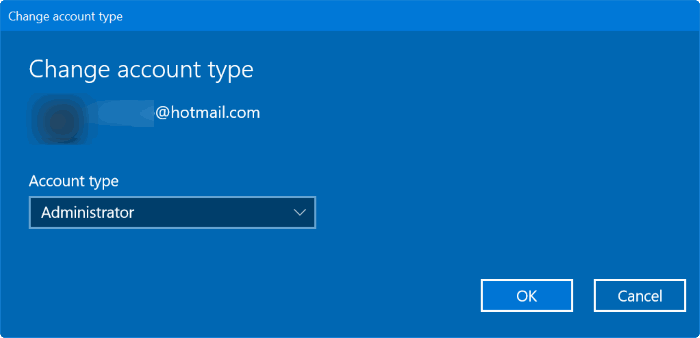 create a new admin account in windows 10