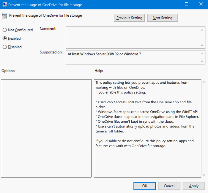 disable Set up onedrive pop up dialog in Windows 10 pic2