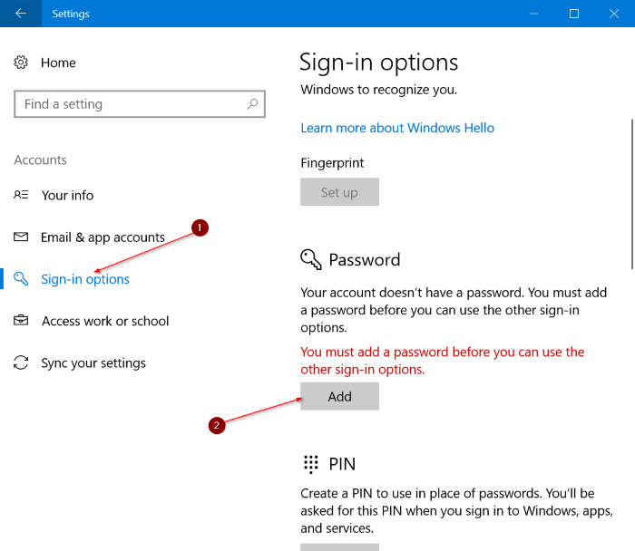 how to add password to windows 10