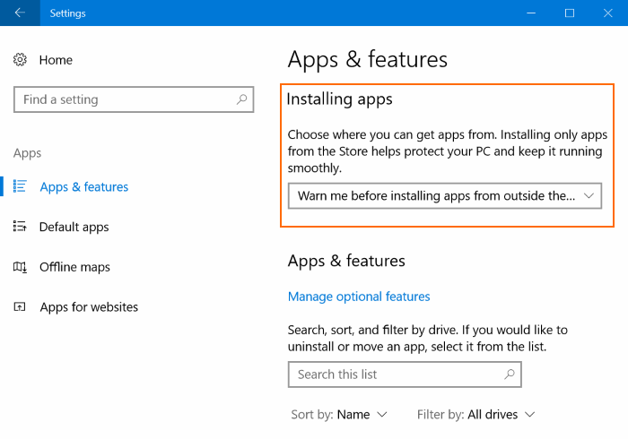 prevent apps installing from outside the Store in Windows 10 pic1