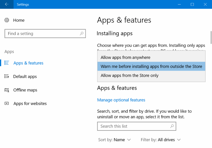 prevent apps installing from outside the Store in Windows 10 pic2