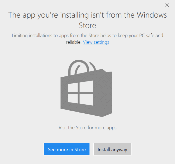 prevent apps installing from outside the Store in Windows 10 pic3