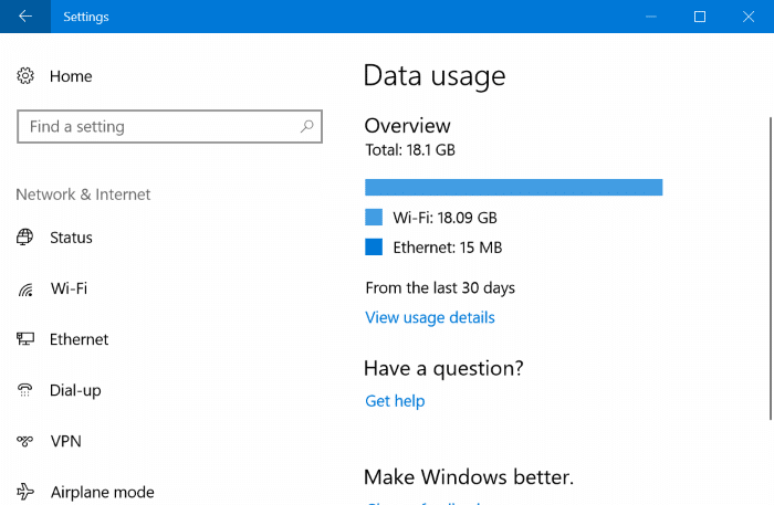 reset network data usage in Windows 10 pic01