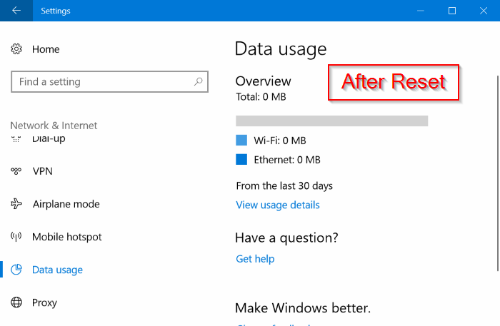 reset network data usage in Windows 10 pic02