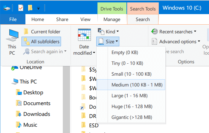 search for large files in Windows 10 pic3