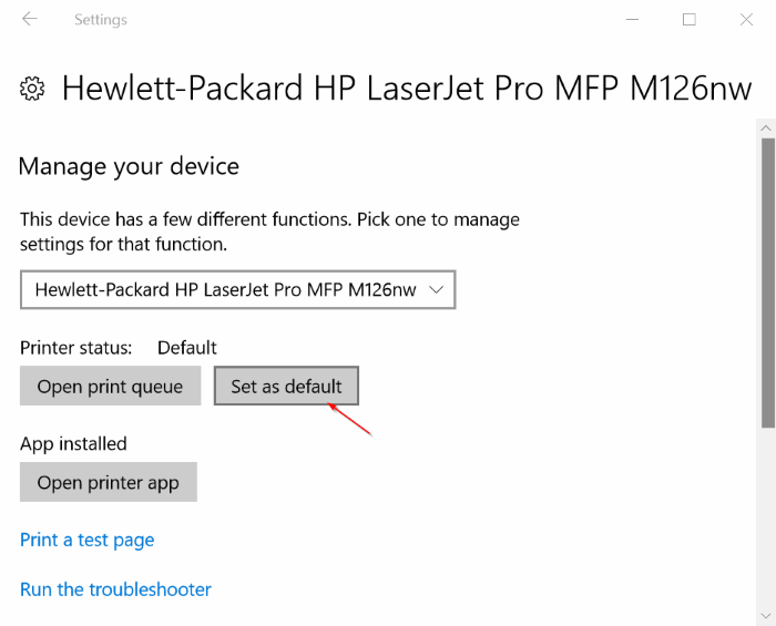 set default printer in windows 10 pic3