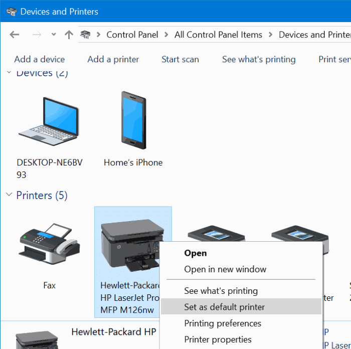 how to change default printer windows 10