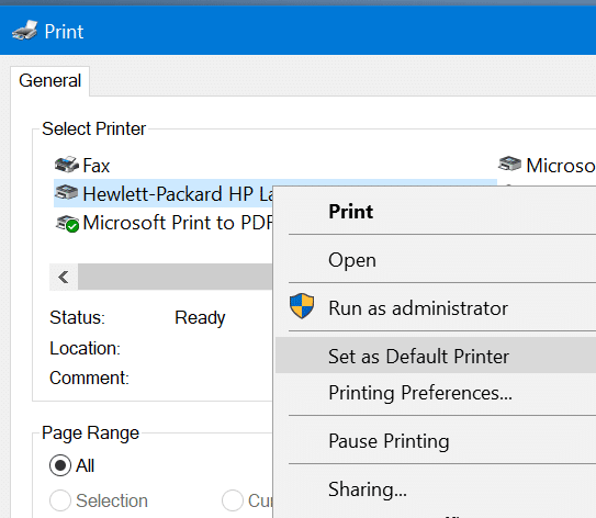 set default printer in windows 10 pic7
