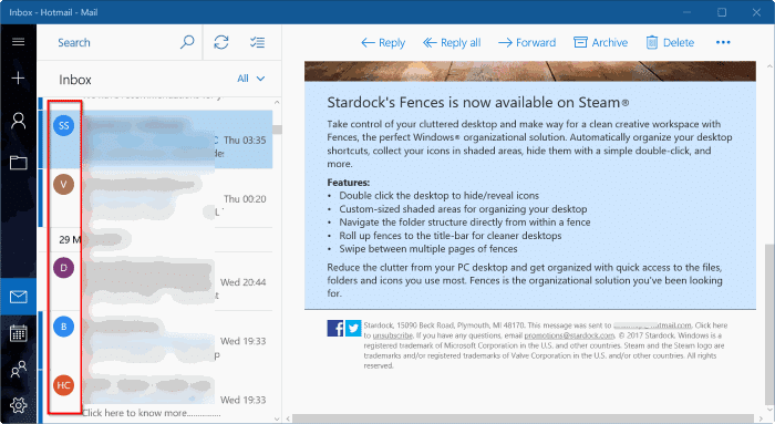 show or hide sender pictures in Windows 10 mail app pic1