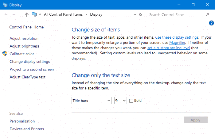 Advanced sizing of text and other items Windows 10 Creators Update