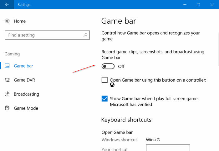 Disable Game bar in Windows 10 pic1