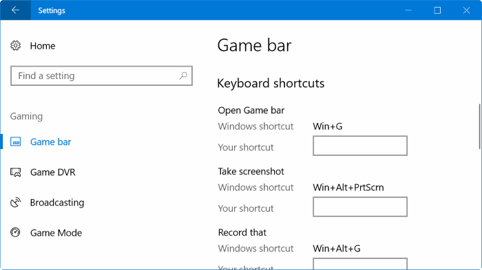 change game bar keyboard shortcuts