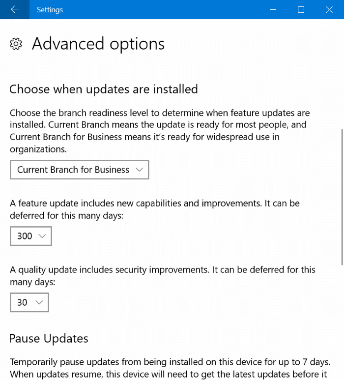 delay or defer updates in Windows 10 up to 365 days