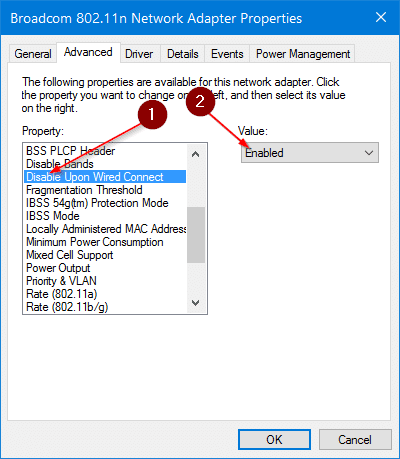 disable wifi when ethernet cable is connected in Windows 10 pic6