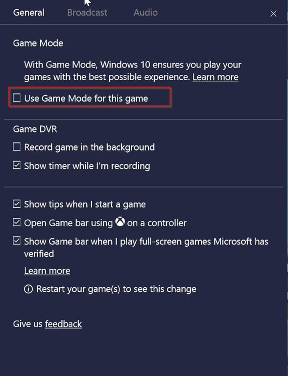 enable or disable game mode for individual apps in windows 10