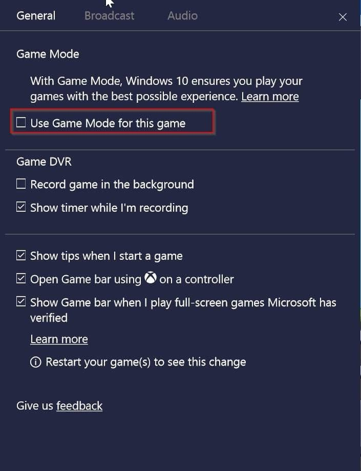 enable or disable Game mode for individual apps pic1