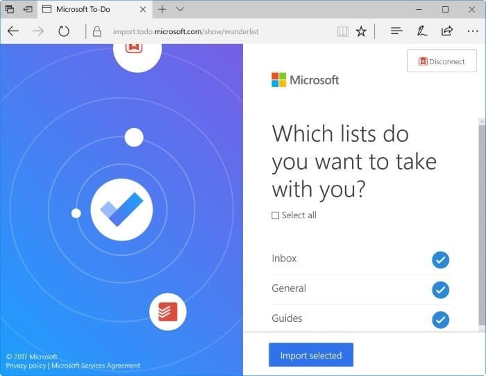 import wunderlist and todoist to Microsoft To-Do pic5