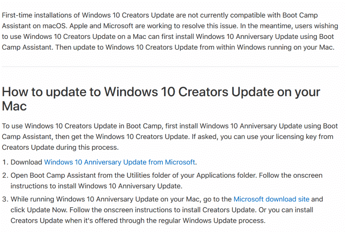 install Windows 10 creators update on mac1