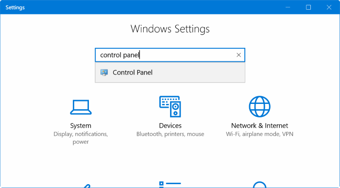 open Control Panel from Settings in Windows 10