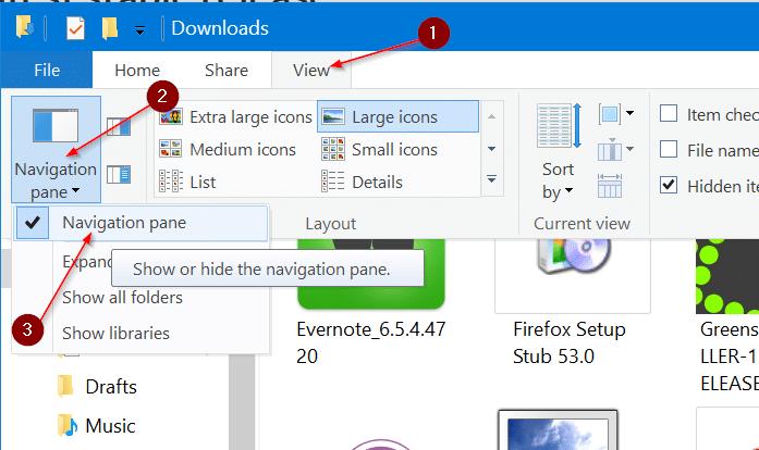 shor or hide navigation pane in Windows 10 file explorer