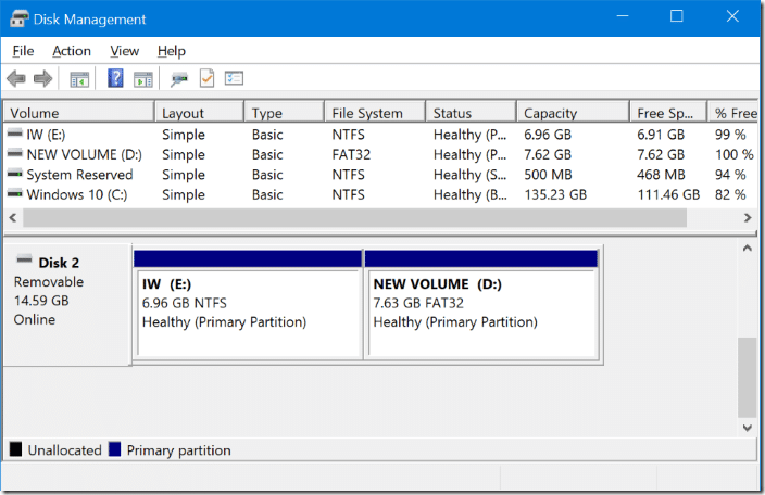 partition usb drives in windows 10 with disk management