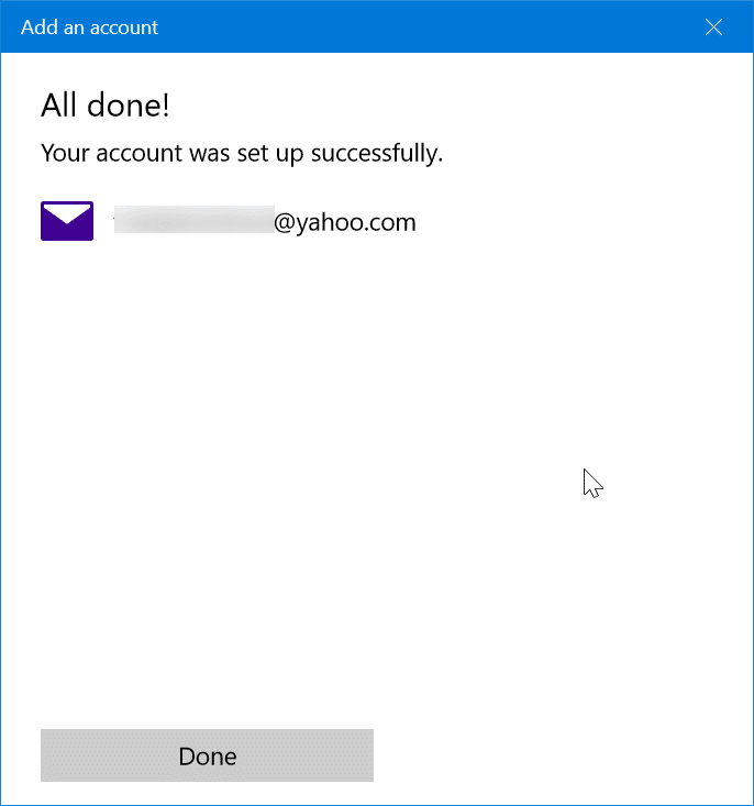 add yahoo mail account to Windows 10 mail step11