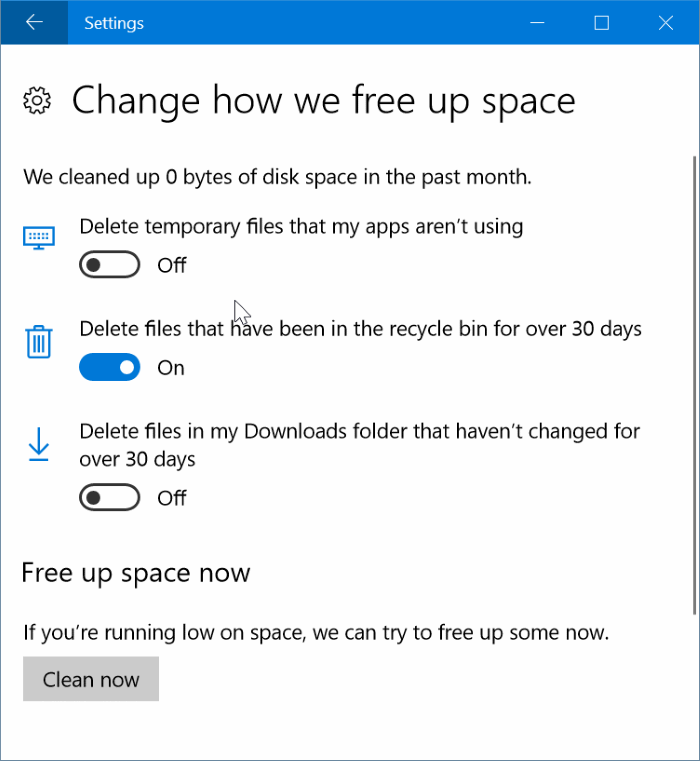 automatically clear delete recycle bin files in Windows 10 pic2
