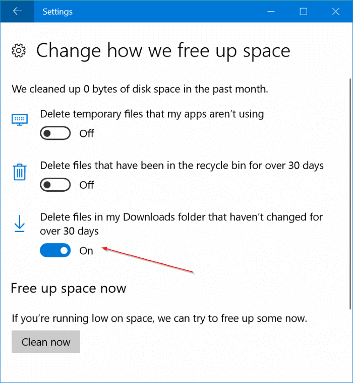 automatically delete files from Downloads folder in Windows 10 pic2