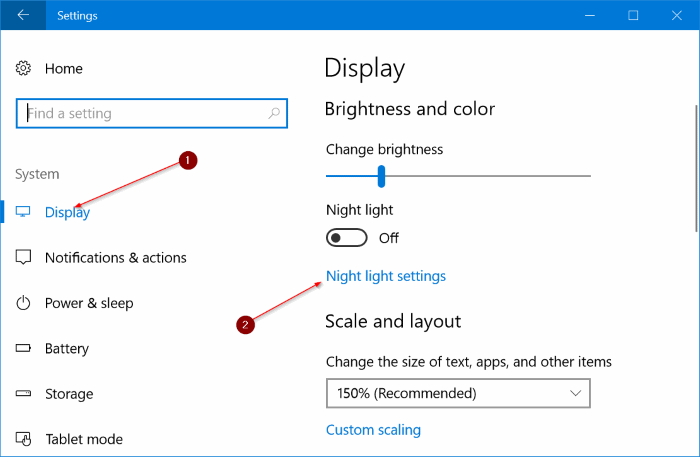 automatically turn on night light mode in Windows 10 pic1