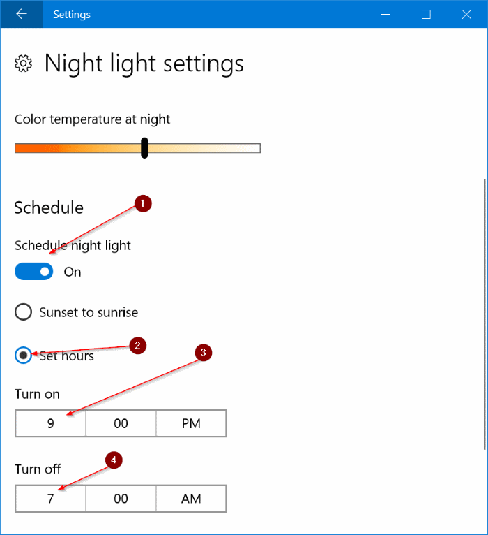 automatically turn on night light mode in Windows 10 pic3