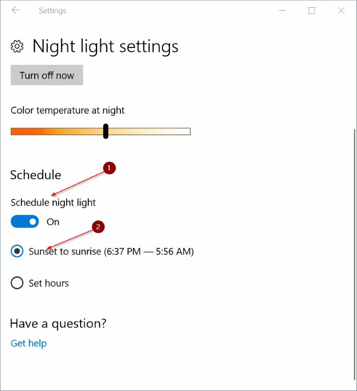 automatically turn on night light in windows 10