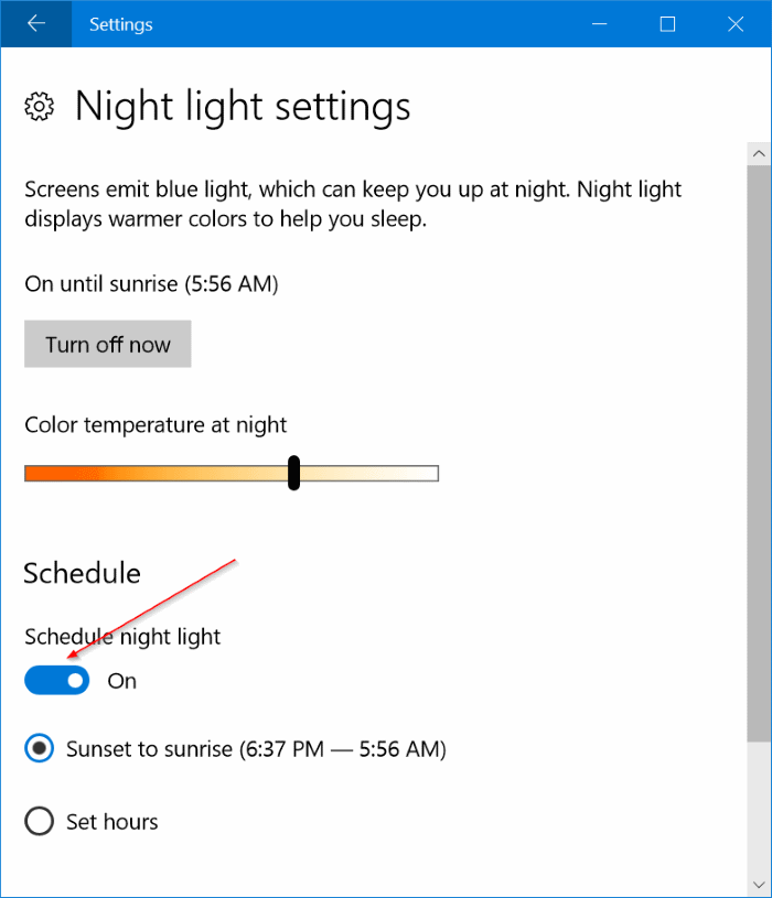 automatically turn on night light mode in Windows 10 pic5