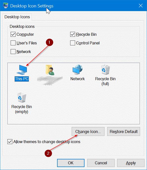 change desktop icons in Windows 10 pic3