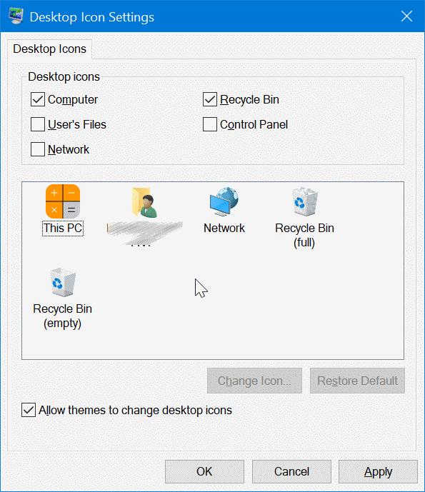 change desktop icons in windows 10