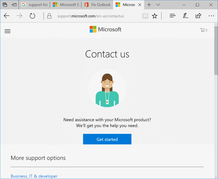 chat with microsoft support agent online