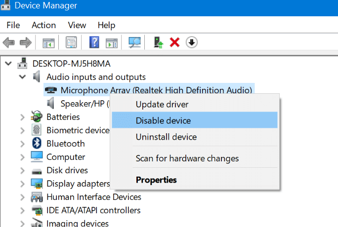 enable or disable microphone in Windows 10 pic1