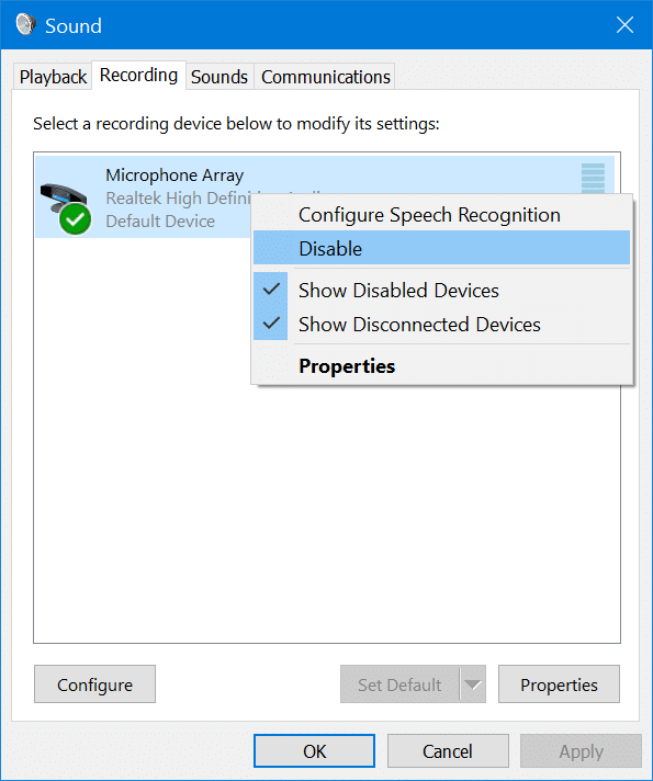 enable or disable microphone in Windows 10 pic2