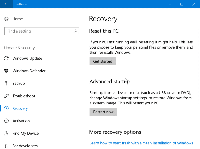When To Use Windows 10 Recovery Options