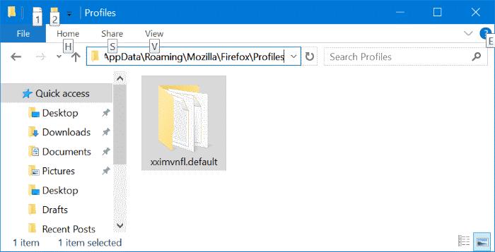 Mozilla Firefox profile location in Windows 10 pic2