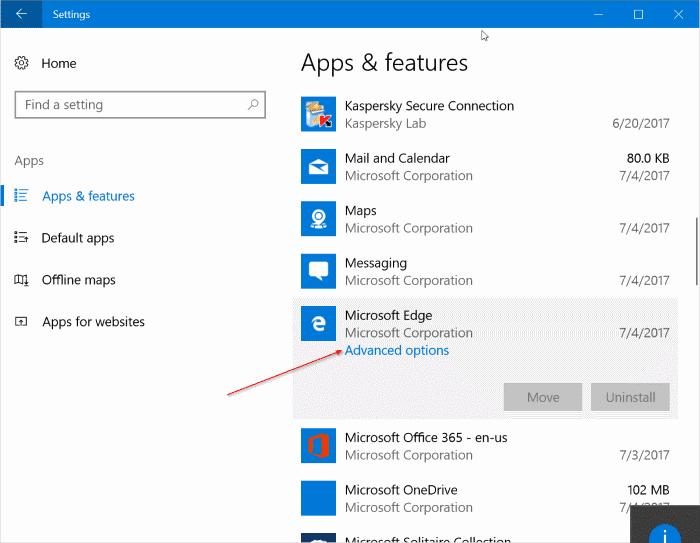 repair Microsoft Edge in Windows 10