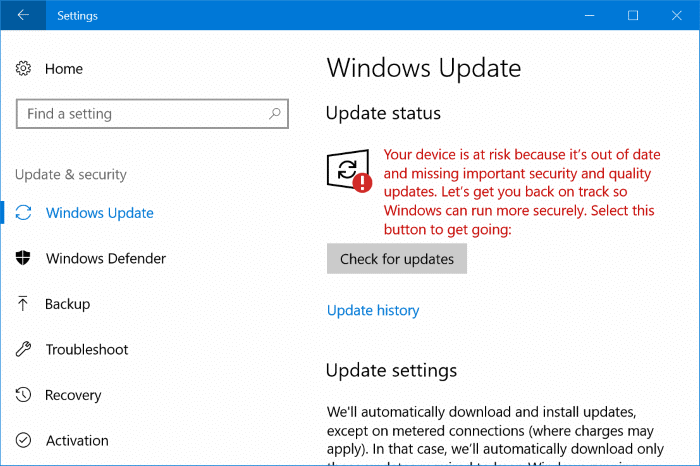 your device is at risk because it's out of date message in windows 10