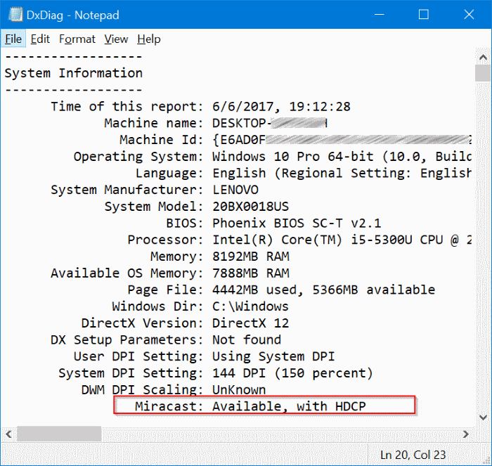 check if your Windows 10 PC supports miracast pic5