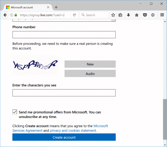 create a Microsoft account for Windows 10 pic2