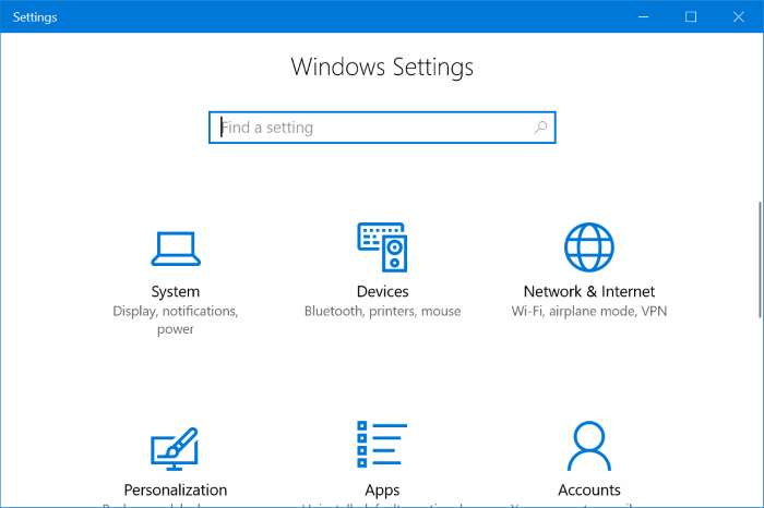 enable or disable settings in windows 10