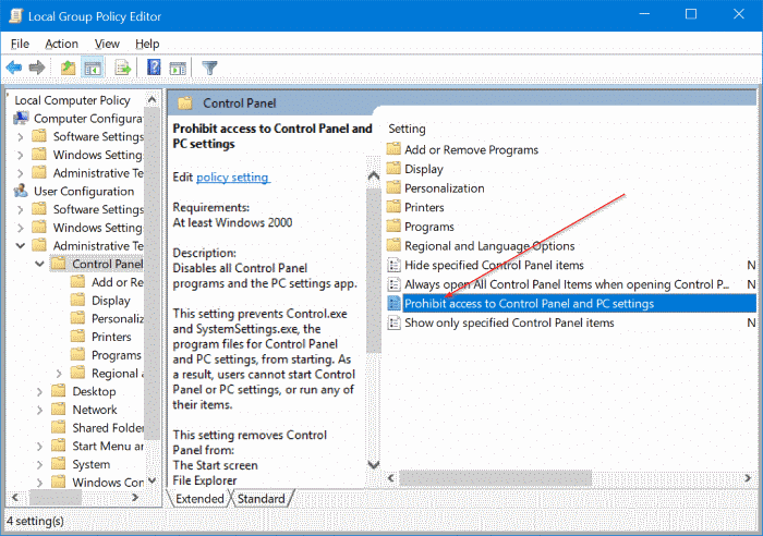 enable or disable settings in Windows 10 pic2