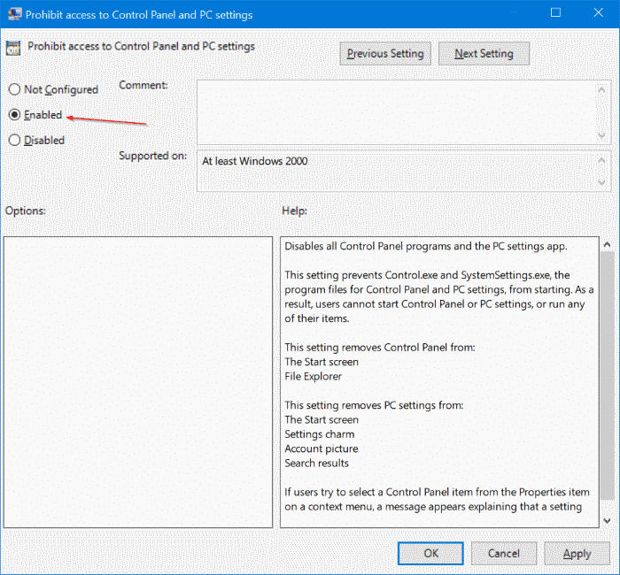 enable or disable settings in Windows 10 pic3