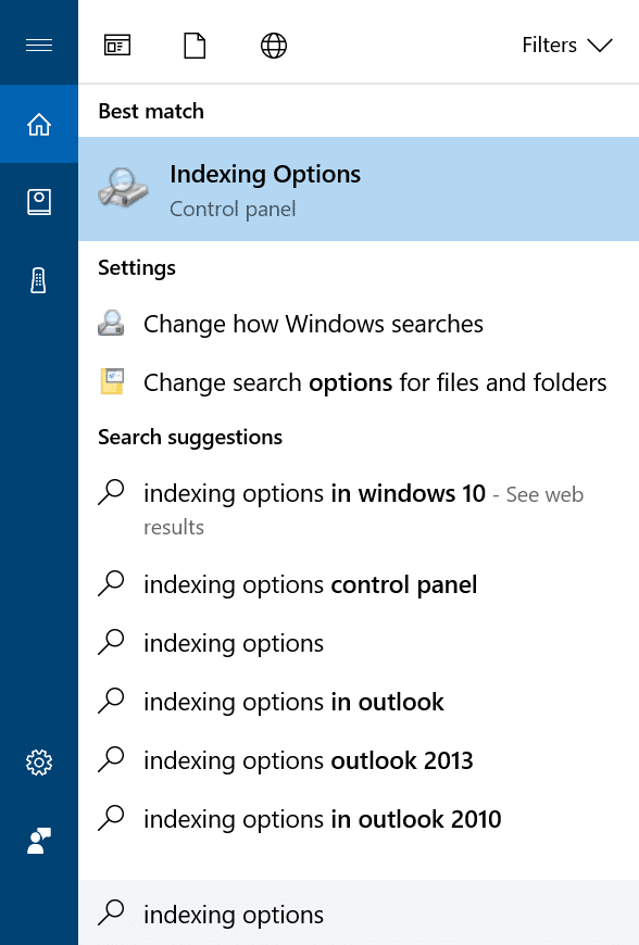 hide files and folders from search results in Windows 10 pic1