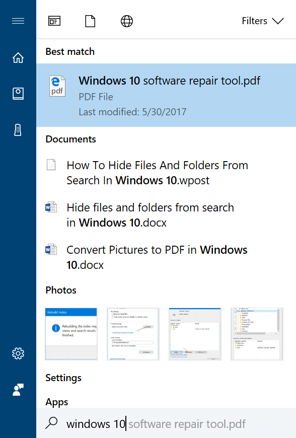 hide files and folders from search results in Windows 10