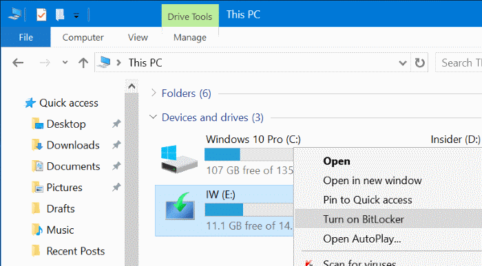 password protect USB drives in Windows 10 pic1