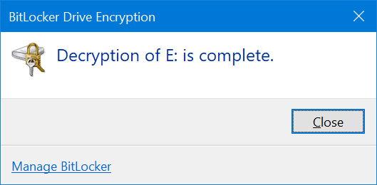 use BitLocker To password protect USB drives in Windows 10 pic11